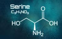 Chemical formula of Serine on a futuristic background