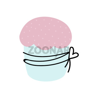 Easter cake isolated on white background. Vector illustration in doodle style