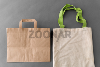 paper bag and reusable tote for food shopping