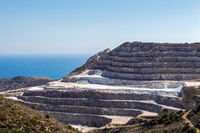 Spectacular view of the opencast quarrying of granite stone