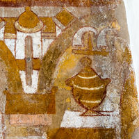 The holy grail on an altar, medieval wall-painting