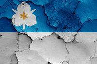 flag of Salt Lake City on cracked wall