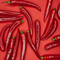 Red hot chili peppers on a red background
