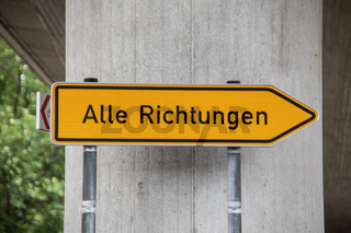 yellow sign with the information that you can go anywhere here