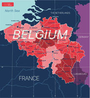 Belgium country detailed editable map