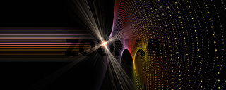 Futuristic particle panorama background design illustration with lights