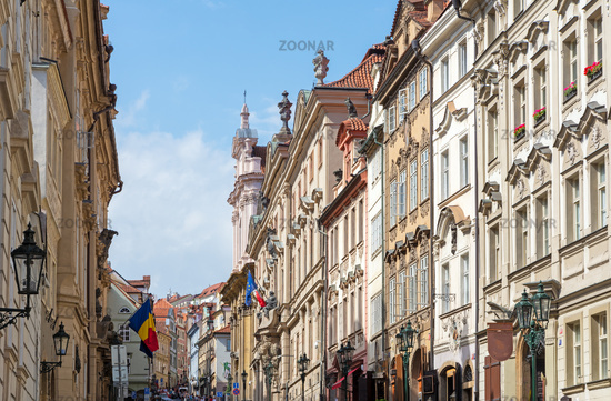 Historic street in the old town of Prague