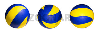 Many yellow blue volleyball ball