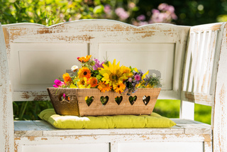 Colorful wild flower bouquet in a garden