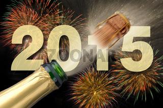 Champagner und Feuerwerk für Neujahr 2015