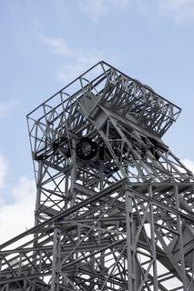 Stahlkonstruktion vom Fördergerüst Schacht 1/2 der Zeche Radpod in Hamm, Deutschland