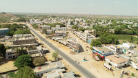 Maski, India 22, March 2020 : Aerial view of empty roads, closed shops during janata curfew or Lockdown at India due to covid 19 or Coronavirus outbreak.