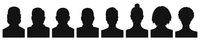Male and female head silhouettes avatar profile icons