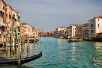 Venice, Italy - March 16th, 2019 - picturesque idyll on the Grand Canal