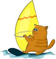 Cartoon Cat Windsurfer