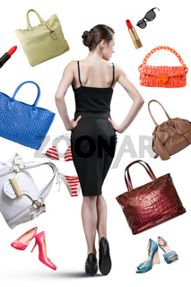 Elegant woman and things to buy isolated on white. Shopping concept