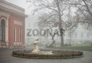 Sculpture on Teatralnaya Square in Odessa, Ukraine