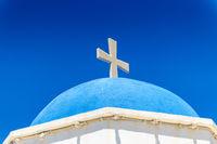 White Church With Cross In Santorini
