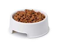 Plastic bowl of dry pet food