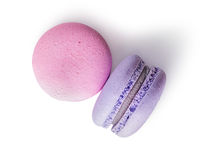 Two macaroon pink purple top view