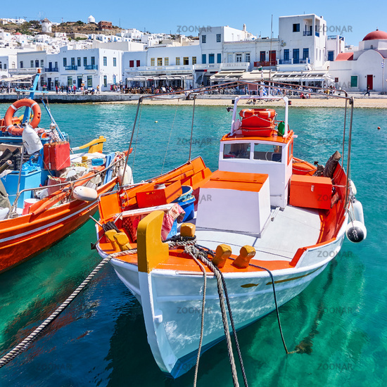 Fishing boats in the Old Port of Mykonos