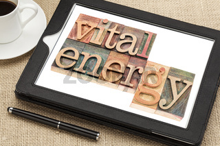 vital energy typography on tablet