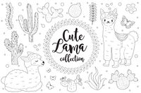 Cute little llama set Coloring book page for kids. Collection of design element sketch outline style. Kids baby clip art funny smiling kit. Vector illustration