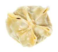 top view of single steamed Buuz isolated