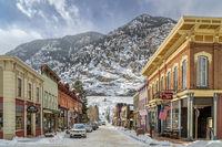 historic Georgetown in Colorado in winter scenery