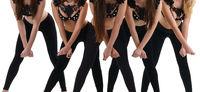 Sexy girl dance group posing in black underwear