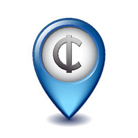 Ghana Cedi symbol on Mapping Marker vector icon.