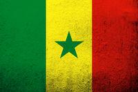 The Republic of Senegal National flag. Grunge background