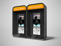 Concept metal dual telephone booth with 3d render money on gray background with shadow