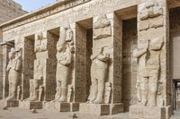 Ramessid statues and columns in the first courtyard of the Mortuary Temple of Ramesses III