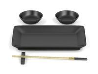 Chopsticks and empty sushi plates