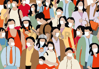 people wearing face mask illustration