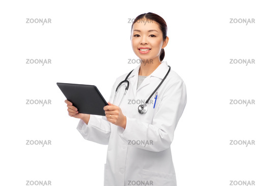 asian female doctor with tablet pc and stethoscope