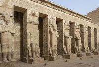 Ramessid statues in the first courtyard of the Mortuary Temple of Ramesses III