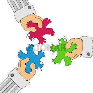 Forced Together Figures Cartoon