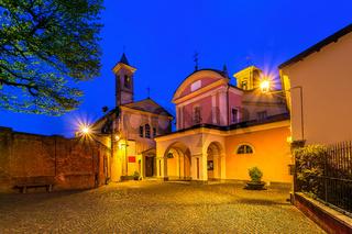 Small town of Barolo at night.