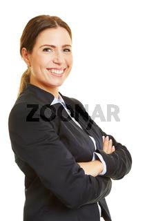 Lächelnde Geschäftsfrau von der Seite