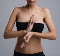 Portrait of beautiful slim girl engaged in yoga
