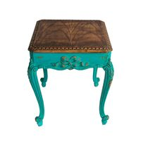 Vintage Furniture - Retro wooden vintage table with green painted legs isolated with clipping path
