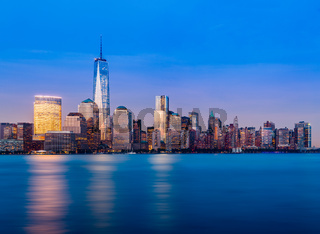 Skyline of Lower Manhattan at night