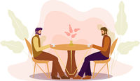 Guys are sitting at a table in a cafe drinking coffee. Restaurant men, businessmen, business negotiations. Flat modern illustration. Vector