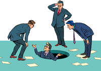 Businessmen and the problem. Finding solution