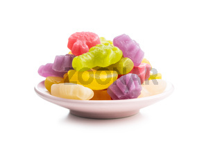 Colorful fruity jelly candies on plate
