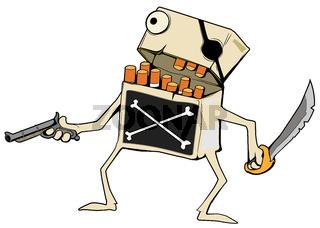 Cigarettes Pirate Cartoon, Color