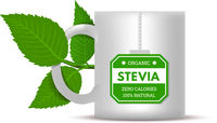 Mug with stevia leaves on a white background. Vector illustration