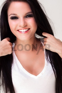 Portrait of a beautiful young pretty woman